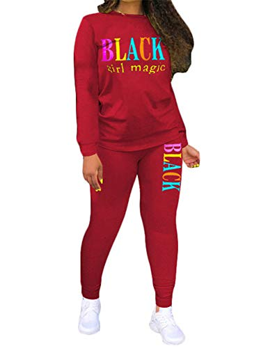 Women Two Piece Outfits - Letter Print Tracksuit Sets Long Sleeve Skinny Pants Workout Casual Sports Sweatsuit