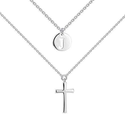 - YL Double Layered Cross Necklace Sterling Silver J Initial Coin Crucifix Pendant Multilayer Chain Criss Jewelry
