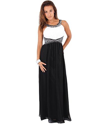 Schwarz Elegante Bodenlange KRISP Damen Abendkleider Weiß 5274 XB5zTEqwT