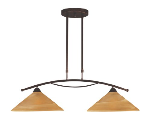 Elk Island Fixtures (Elk 6551/2 2-Light Island Light In Aged Bronze and Tea Swirl Glass)