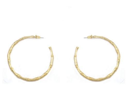 Bamboo Pattern Earrings (Lilly Rocket Gold Thin Bamboo Style)