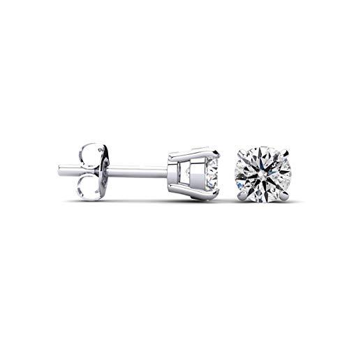 - 1/3 Cttw 14k White Gold Round Diamond Stud Earrings (AGS Certified I-J, I-I1-I2)