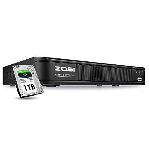 ZOSI H.265+ 1080p Security DVR 8 Channel with Hard Drive 1TB, Remote Access, Motion Detection, Alert Push, Hybrid Capability 4-in-1(Analog/AHD/TVI/CVI) CCTV DVR Reorder for Home Surveillance Cameras