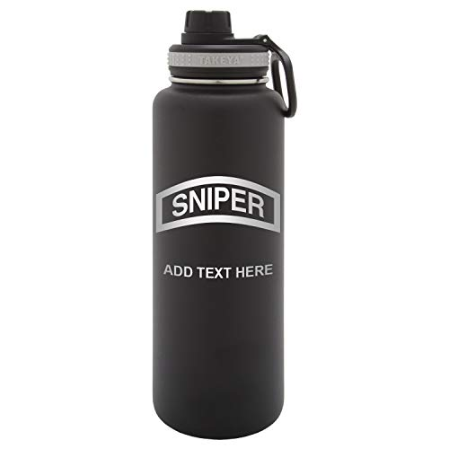 Army Force Gear Personalized Engraved United States Marine Corps Sniper Takeya Thermoflask Stainless Steel Sports Water Bottle Tumbler, 40 Oz, - United Personalized Marine States