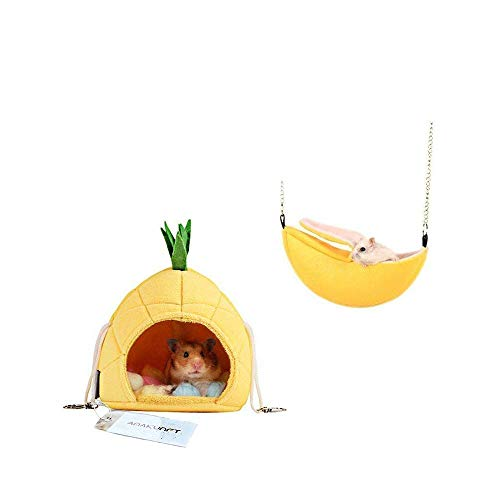 2 Pack of Hamster Bedding, Sugar Glider Cage Accessories Hammock, Hamster House Toys for Small Animal Sugar Glider Squirrel Hamster Rat Playing Sleeping ()
