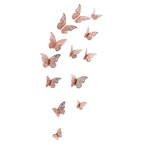 DondPO 12Pcs 3D DIY Wall Decal Butterfly Wall Sticker Decals for Room Home Art Nursery Decor Butterfly Silver Mirror
