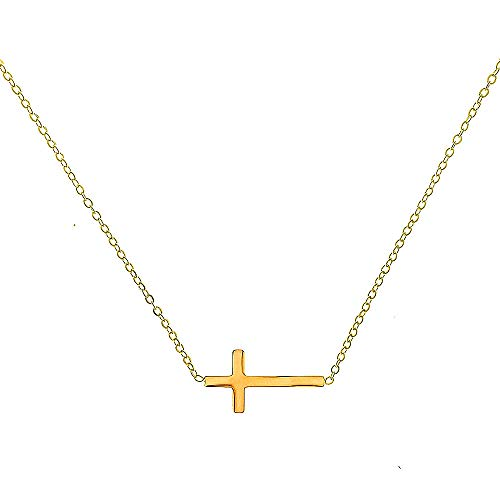 Cross Petite - Pusheng Women Sideways Horizontal Cross Pendant Necklace Stainless Steel Petite Necklace,16