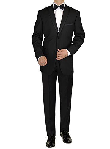 Tropical Wool Suits - GN GIORGIO NAPOLI Men's Tuxedo Suit Two Button Jacket Flat Front Adjustable Pant (40 Regular US / 50R EU, Black)