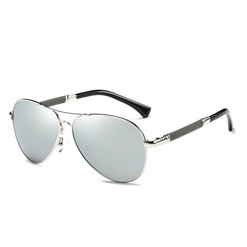 Marca de Hombre con la Espejo Lujo Regalo de Sol de Zygeo de como Cl¨¢sico Masculino Plata de Caja Gafas Sol los Espejo Pilot de Plata la Gafas Aviador Espejo Hombres polarizadas UxHaO7