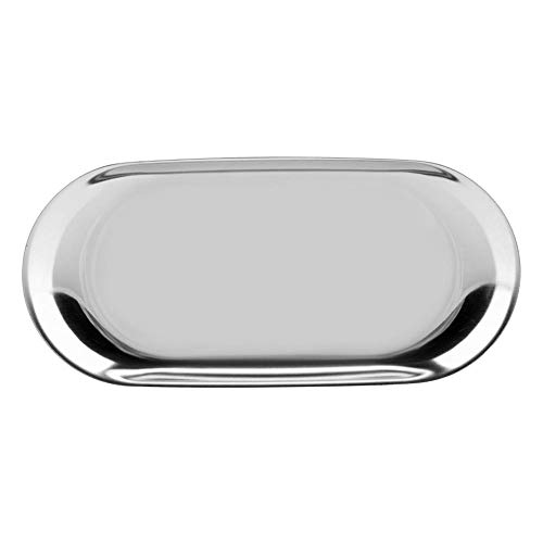 (GLOGLOW Stainless Storage Tray, Nordic Style Fruit Serving Food Trays Cosmetics Organizer Jewelry Cake Plate for Office Desks(S-Silver))