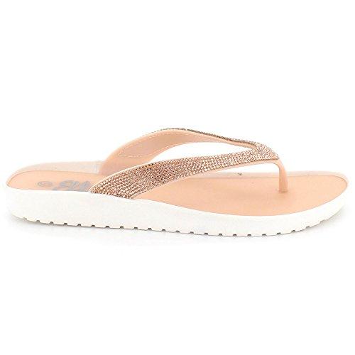 Bas Décontractée sur Taille Rose étincelante Femmes de Chaussures Sandales Toe Confort gelée Open Talon Diamante Dames Glisser Plat aq8nw8Xv