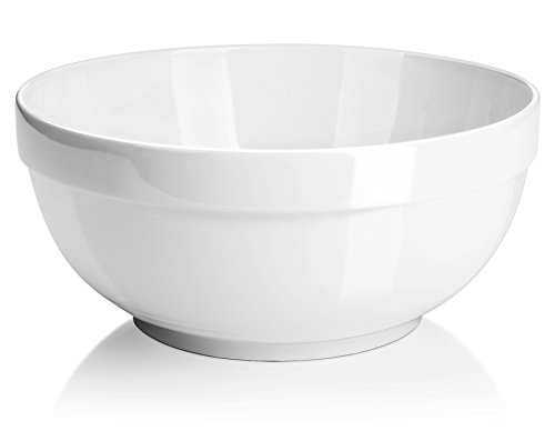DOWAN 2 Quarts Porcelain Serving Bowls, 2 Packs, White, Anti-slipping, Stackable