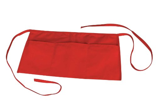 Waist Aprons Commercial Restaurant Home Bib Spun Poly Cotton Kitchen (3 Pockets)in Red - Red 3 Pocket Bib Apron