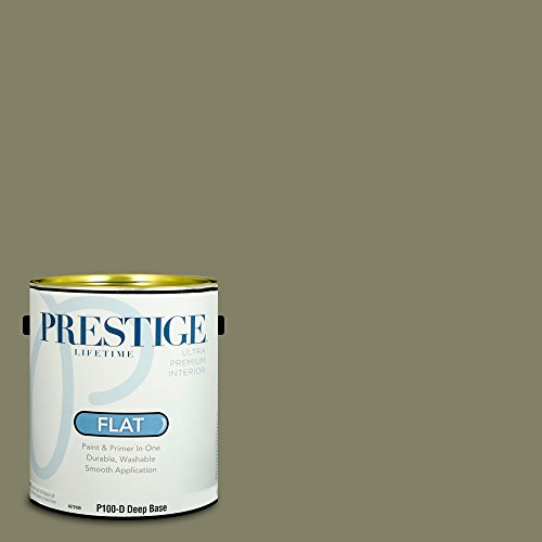 Prestige Paints Interior Paint and Primer In One, 1-Gallon, Flat,  Comparable Match of Benjamin Moore Tate Olive (Tate Olive)