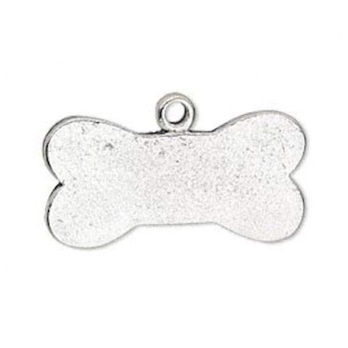 - 4 Antiqued Silver Plated Pewter Double Sided Dog Bone Charms ~ 32x16mm