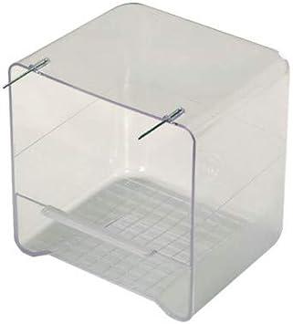 Eden - Bañera exterior para pájaros con ganchos plegables adaptable a todas las jaulas, baño para pájaros, 13 x 11 x 13 cm