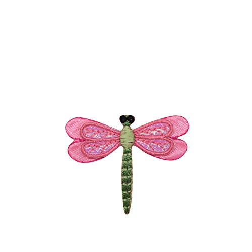 - Small Layered Pink Dragonfly Iron on Embroidered Patch