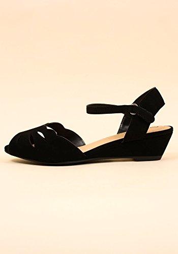 Ville Classifiée Wilson-h Femmes Peep Toe Laser Cut Pu Cheville Sangle Mini Sandales Compensées Noir