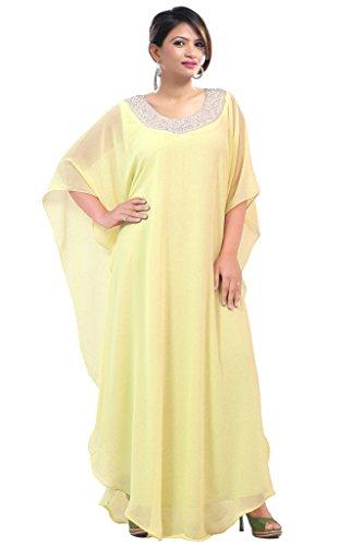 Dubai Very Fancy Kaftan Luxury Crystal Beaded Caftan Abaya Wedding Dress (XXXXL Yellow) by Leena