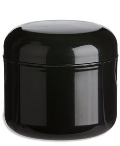 Nakpunar 12 Pcs, 1 Oz Black Double Wall Plastic Jars with Dome Lid