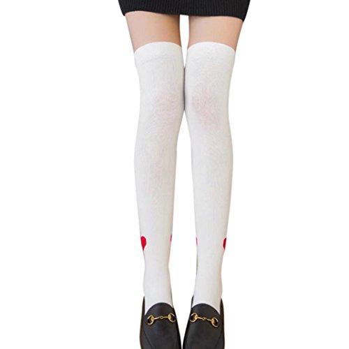 Au Ski De Blanc Socquettes En dessus Coton Femmes Longues Fille Chaud Motif Genou Chaussettes Des Hiver Les Imprimé Haut Angelof Bas Pastel Cuisse g0wBxB