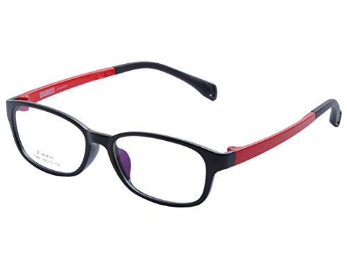 DEDING Kinder Acetate optische Brillenfassung mit Federscharnier DD1396 (Schwarz&Rot)