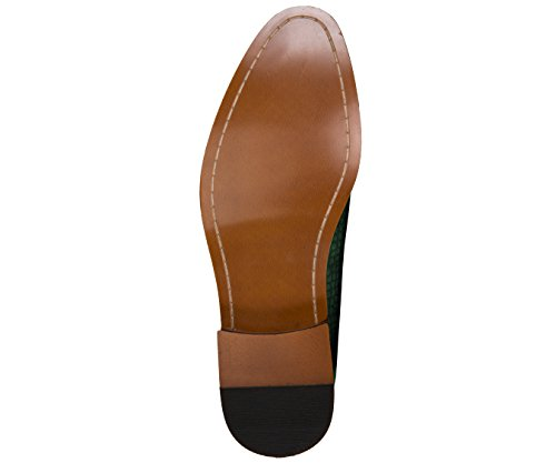 Pantofole Da Uomo In Vernice Bicolore Con Stampa Ghepardo Amali, Slip On Nightclub Dress Shoes, Stile Sammy Verde Oliva