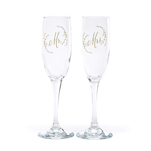 - Personalized Ethereal Floral Wedding Flutes Toasting Glasses Engraved for Bride & Groom