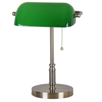 15 in. Antique Brass Bankers Lamp with Green Glass Shade - Antique Green Table Lamp