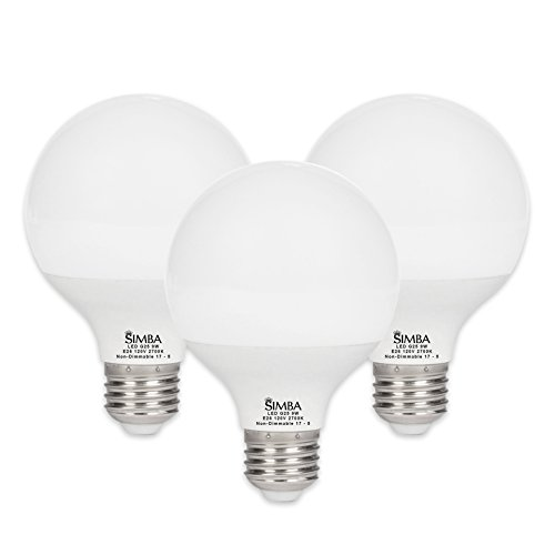 [3 Pack] Simba Lighting LED G25 Globe 9W 900lm 60W Incandescent Equivalent 270° Beam Angle 120V for Vanity Makeup Lighting, Standard Medium E26 Base, PC Cover, Non-Dimmable, Warm White 2700K