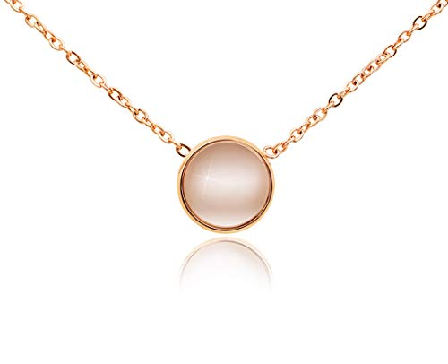 KristLand - 18k Gold Plated Stainless Steel Tiny Round Necklace Open Circle Pendant Adjustable Choker Simple Style Cat Eyes Rose Gold Color