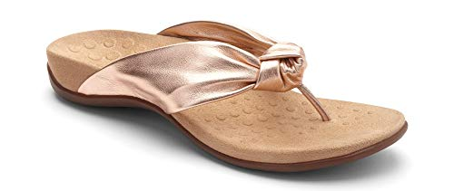 Vionic Women's Rest Pippa Toepost Sandals - Ladies Leather Knot Flip Flops with Concealed Orthotic Support - Rose Gold 8M - Ladies Leather Thong
