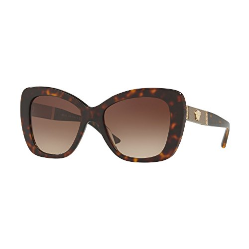 Versace Women's VE4305Q Dark Havana/Brown Gradient One - Versace Sunglasses Butterfly
