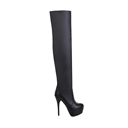 Knee Faux Thigh Boots Mostrin Heel Black Sexy Toe High Boots Pull Leather Pointed Stretch Over On Womens qBggxvE