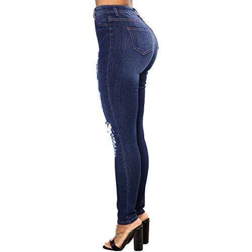 Mujer Pantalones Darkblue Pies Pequeños Las Mujeres Botón De Alta Cintura Cremallera Apretado Agujero Jibo Ocio Xxp56w0Z