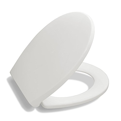 Bath Royale Premium Round Toilet Seat with Cover, White, Soft-Close, Quick-Release for Easy Cleaning. Fits All Manufacturers' Round Toilets (Fixtures Porcher Plumbing)
