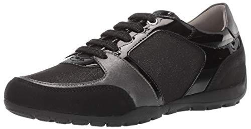 Geox Women's RAVEX 1 Fashion Sneaker, Black Oxford, 39 Medium EU (9 US)