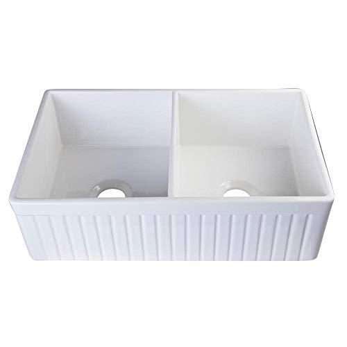 ALFI brand AB537 White 32-Inch Fluted Double Bowl Fireclay Farmhouse Kitchen Sink, White