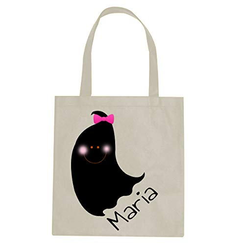 BleuReign Custom Personalized Name - Black Ghost Girl Pink Hair Bow - Reusable Candy Halloween Trick Or Treat Ivory Tote Bag]()