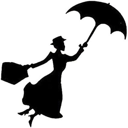LXHLXN Mary Poppins Silueta Interruptor Etiqueta Chica Decal ...