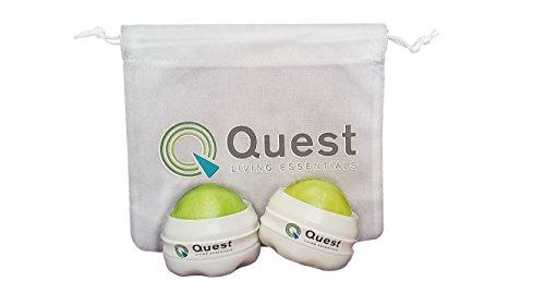2 Quest Living Essentials Massage Roller Balls and Drawstring Bag