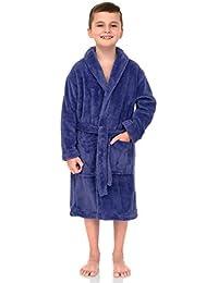 TowelSelections Big Boys' Robe, Kids Plush Shawl Fleece Bathrobe Size 10 Aster Purple