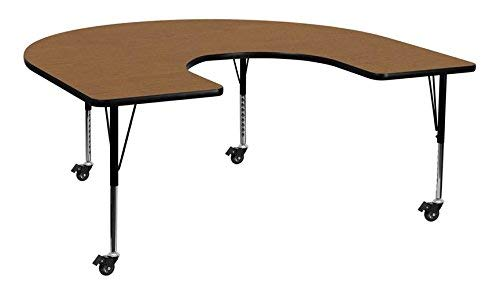 Flash Furniture Mobile 60''W x 66''L Horseshoe Oak Thermal Laminate Activity Table - Height Adjustable Short Legs