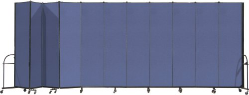 Screenflex Heavy Duty Portable Room Divider (HFSL7411-DS) 7 Feet 4 Inches High by 20 Feet 5 Inches Long, Designer Blue Fabric by Screenflex