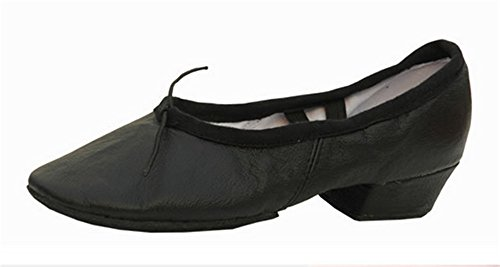 staychicfashion Women's Low-Heeled Leather Ballet Belly Dance Shoes Soft-Soled Practice Flat(7.5, Black) ()