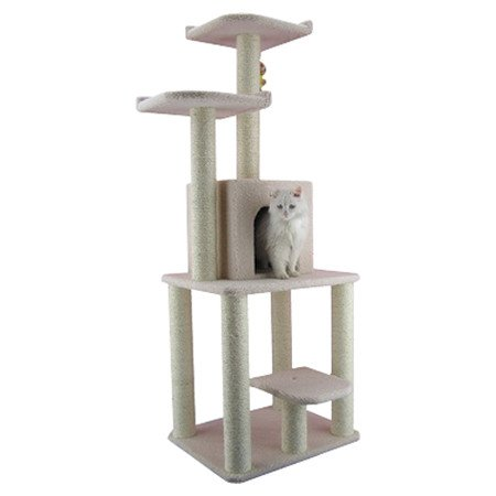 Ivory Cat Tower House with 6 Sisal Scratching Posts and 2 Beds
