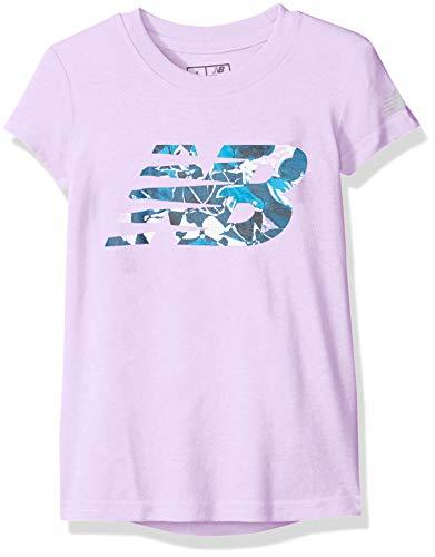 - New Balance Girls' Big Short Sleeve Graphic Tee, Dark Violet Glow, 10/12