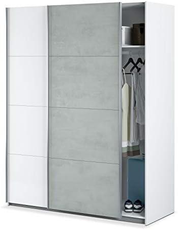 Habitdesign ARM154A - Armario Dormitorio ropero, Armario 2 Puertas correderas Color Blanco Artik y Gris Cemento, Medidas: 150 x 200 x 60 cm de Fondo: Amazon.es: Hogar