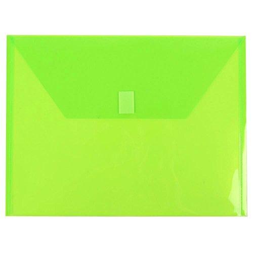 - JAM PAPER Plastic Envelopes with Hook & Loop Closure - Letter Booklet - 9 3/4 x 13 - Lime Green - 12/Pack