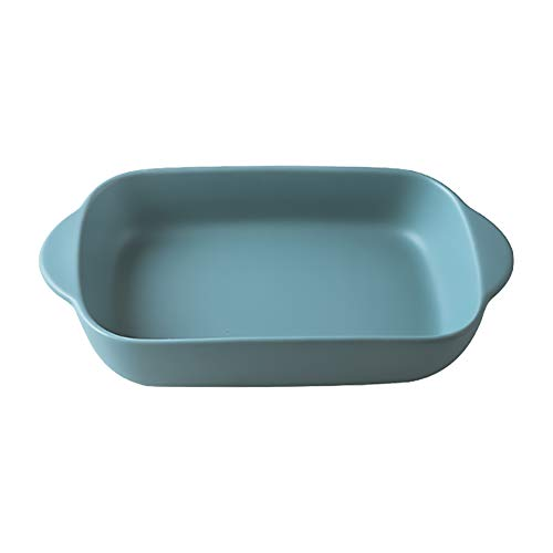 Green Small Ceramics Rectangular Baking Dishes with Handle for Oven Ceramic Baking Pan Lasagna Casserole Pan Individual Bakeware 9x5 inch